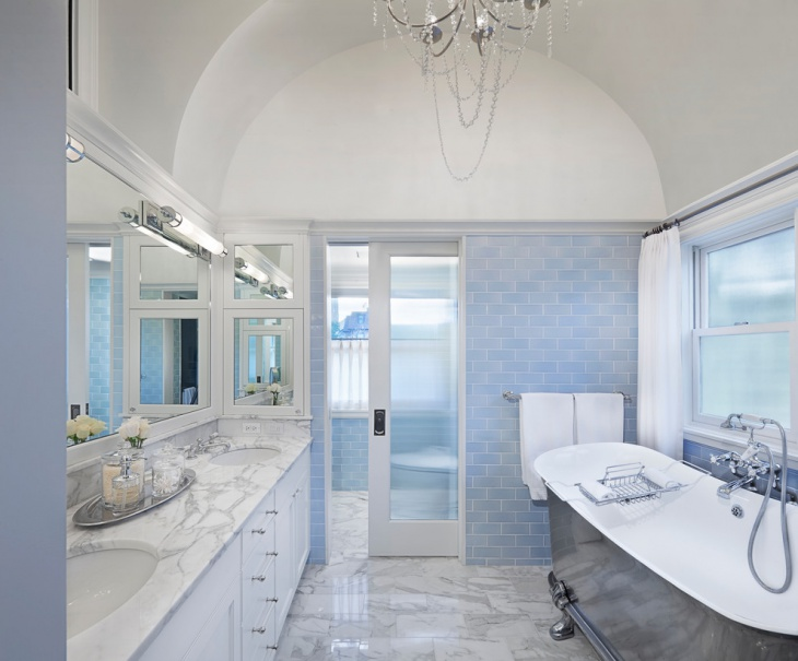 transitional bathroom with soaking tub