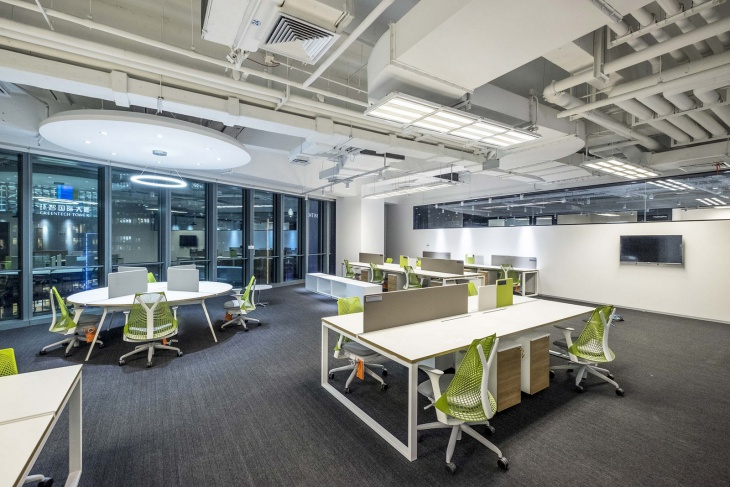 official office design with green chairs