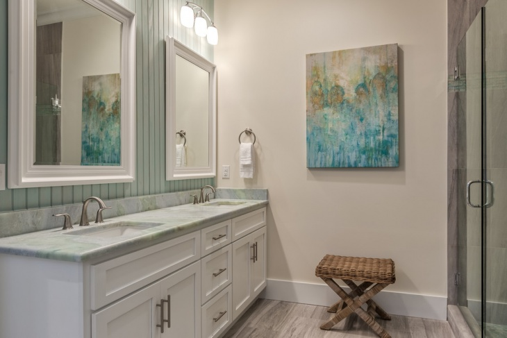 beach style bathroom with double vanity - Beach Style Bathroom
