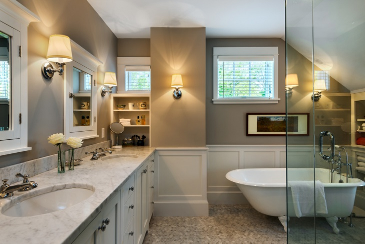 Gray and White Cottage Bathroom