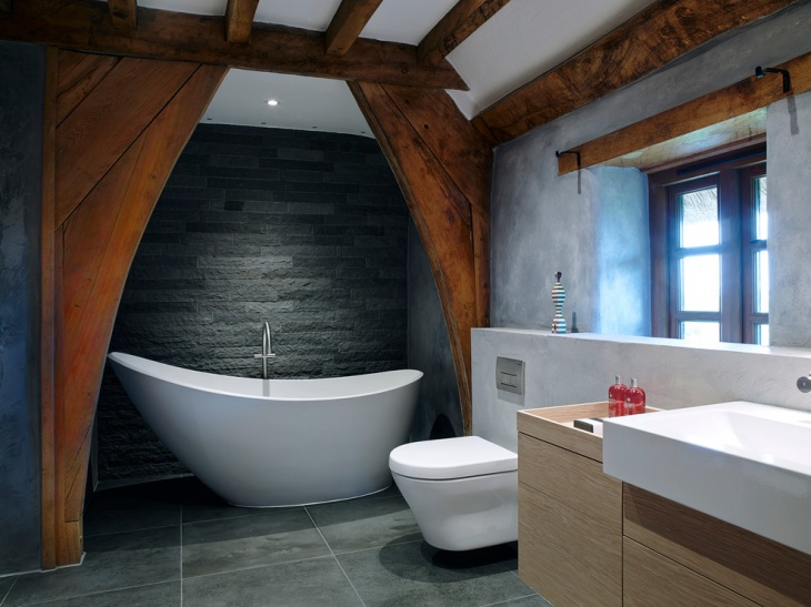 Dark Gray Wall Tiles Bathroom