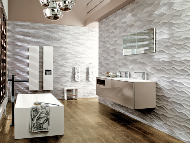 lavish bathroom with patterned wall