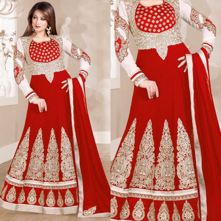 red churidhar with collar u neck