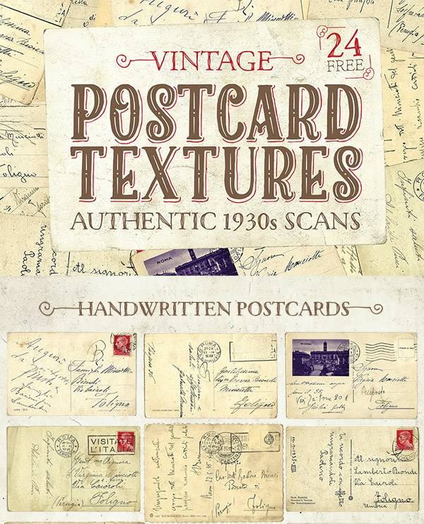 Free Authentic 1930s Vintage Postcard Textures
