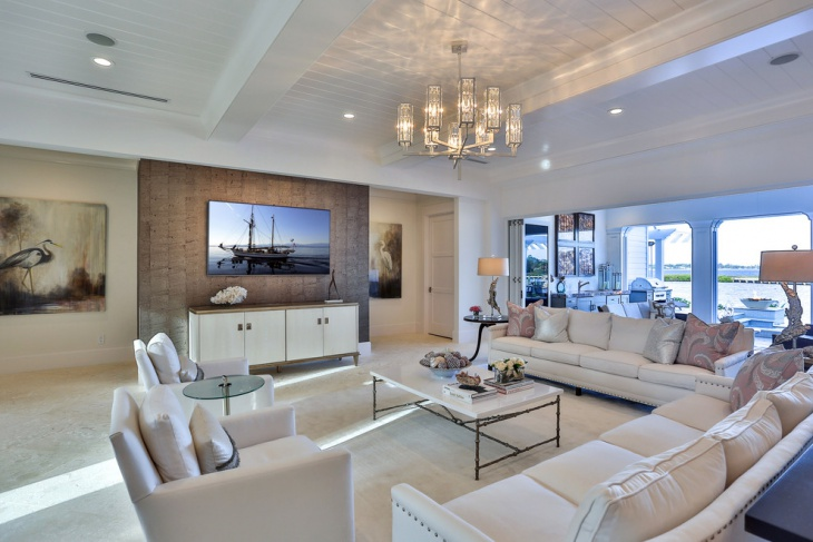 Elegant Living Room with Chandelier