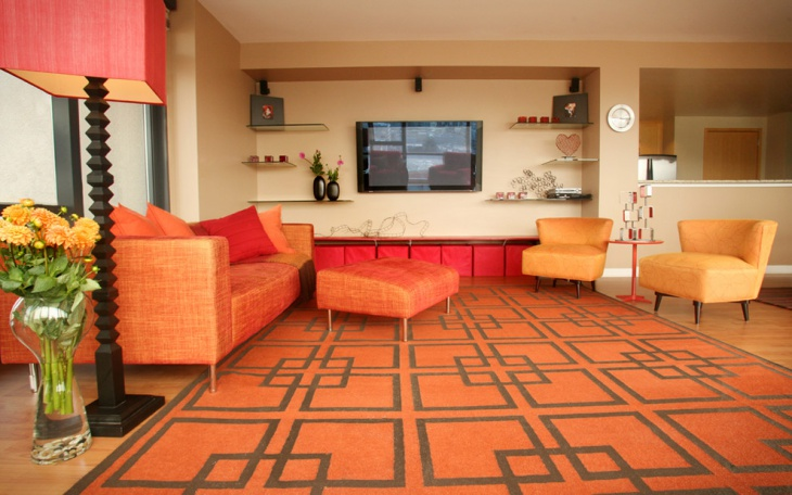 orange sofa set for living room