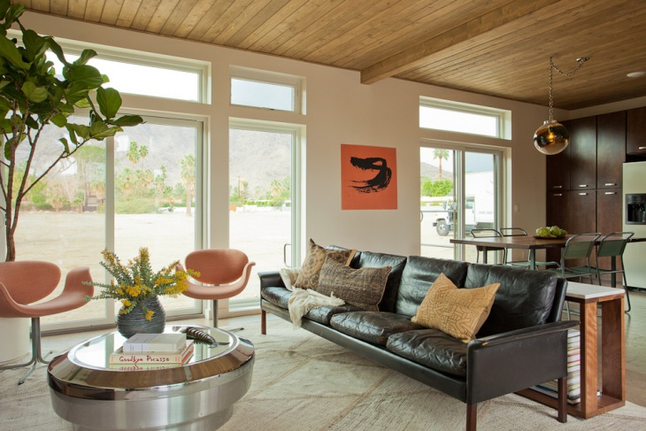 midcentury living room with leather sofa
