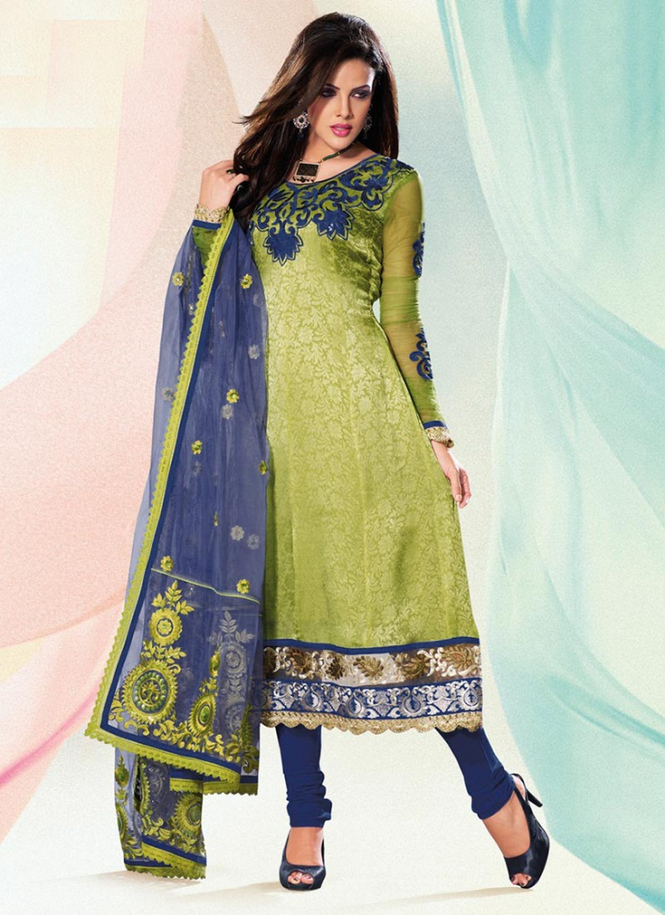 green printed churidar with round neck