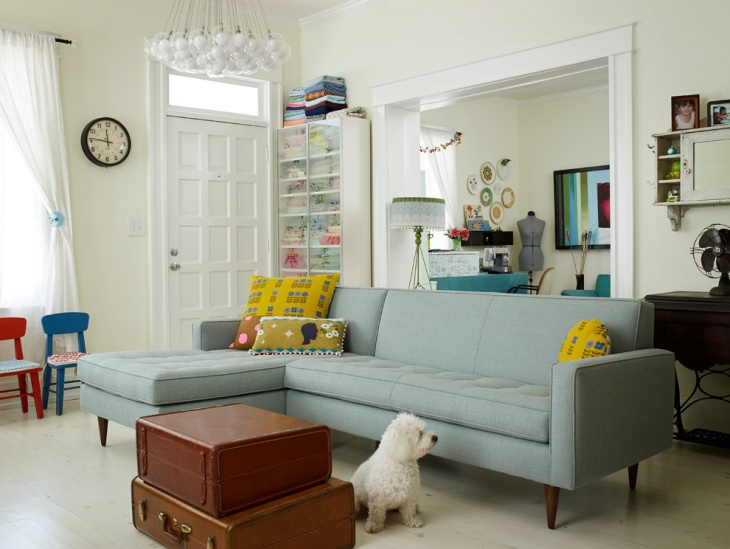 small living room with blue sofa