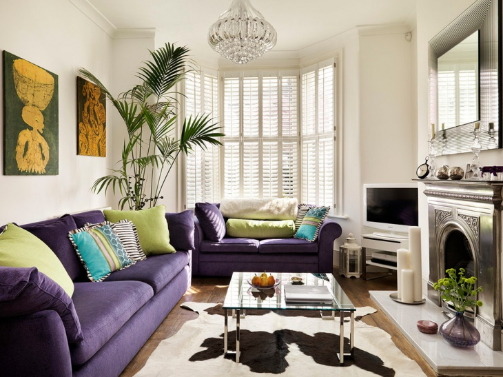 purple color furniture for family room