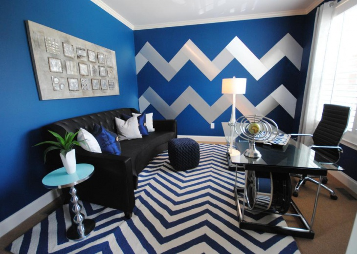 Blue Home Office With Striped Walls