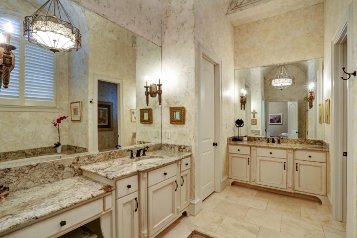 double vanity with brown granite