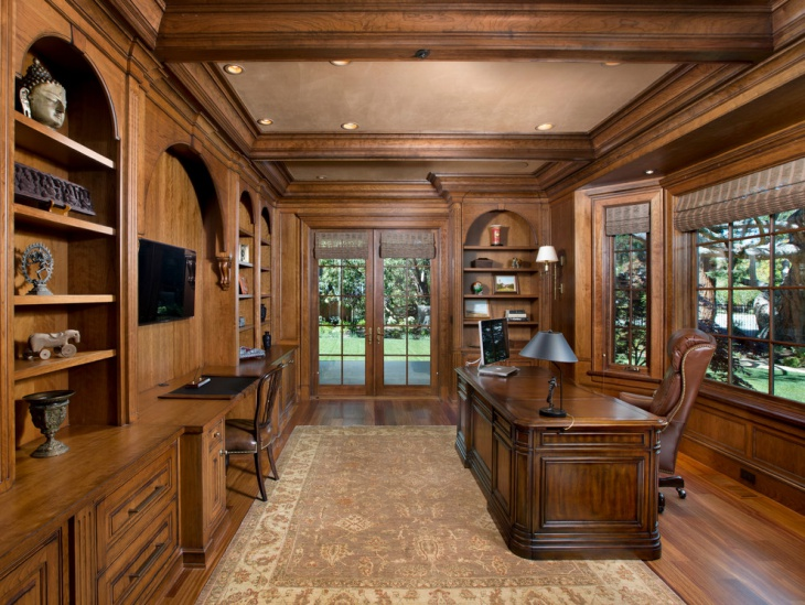 Traditional Home Office Design. Wooden Atherton Home Office Traditional  Design