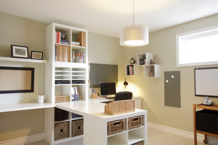 classic home office with small shelves