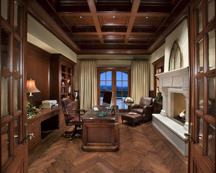 Brown Traditional Home Office Design