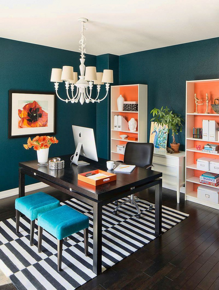 Blue and Orange Home Office Design