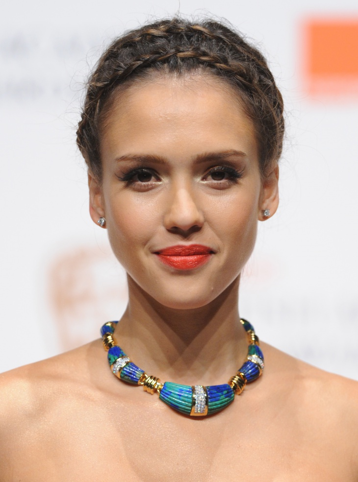 jessica alba double rope braid bun