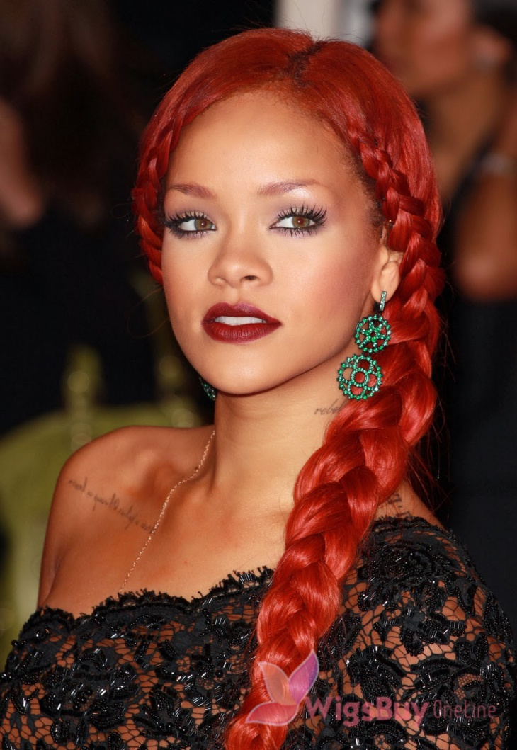 rihanna side rope braid