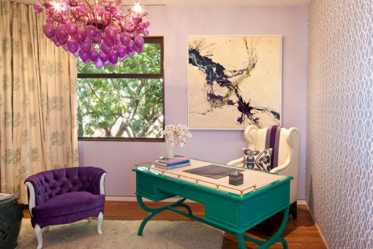 Home Office With Purple Chandelier