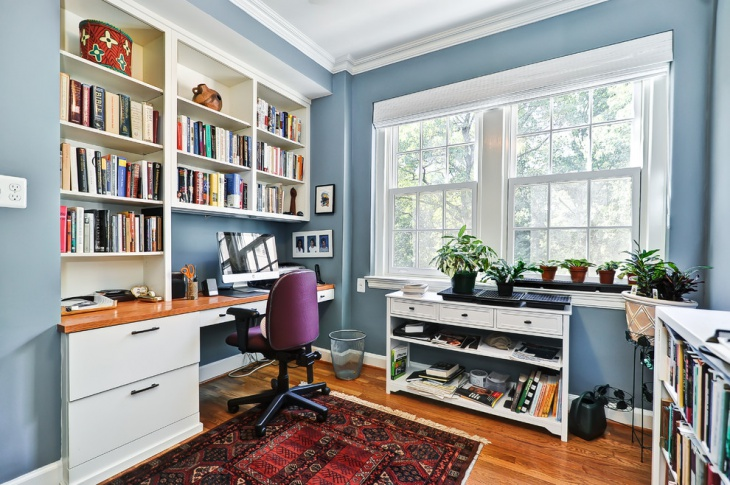 Traditional Home Office with Small Shelves