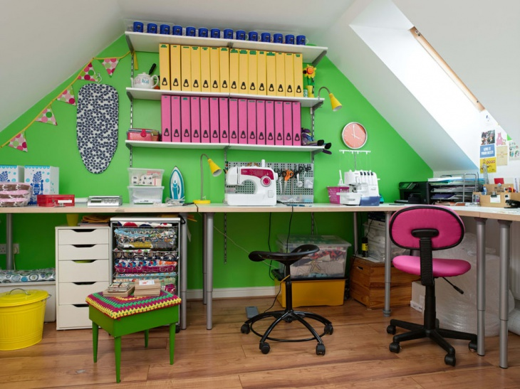 Colorful Green Home Office Ideas