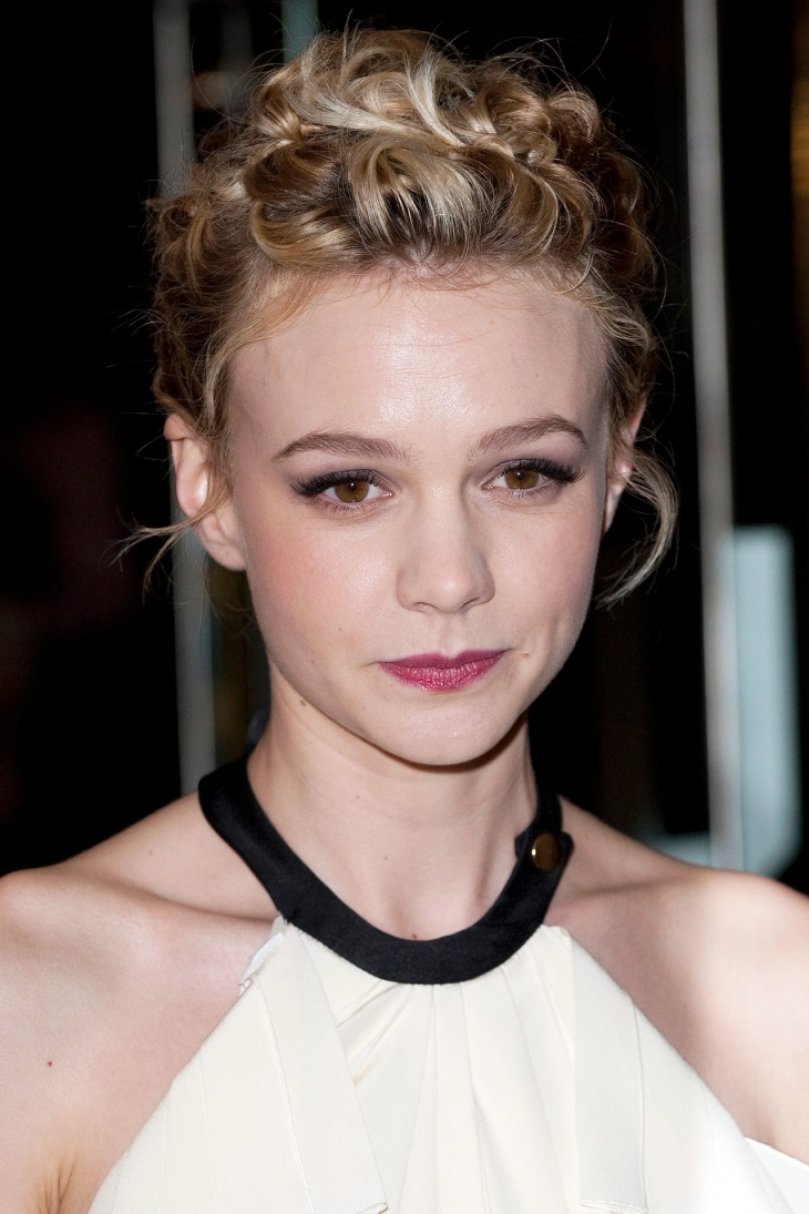 carey mulligan short hair updo
