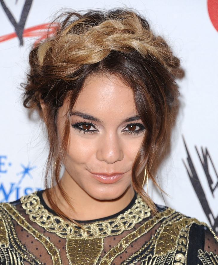 vanessa hudgens short messy hair updo