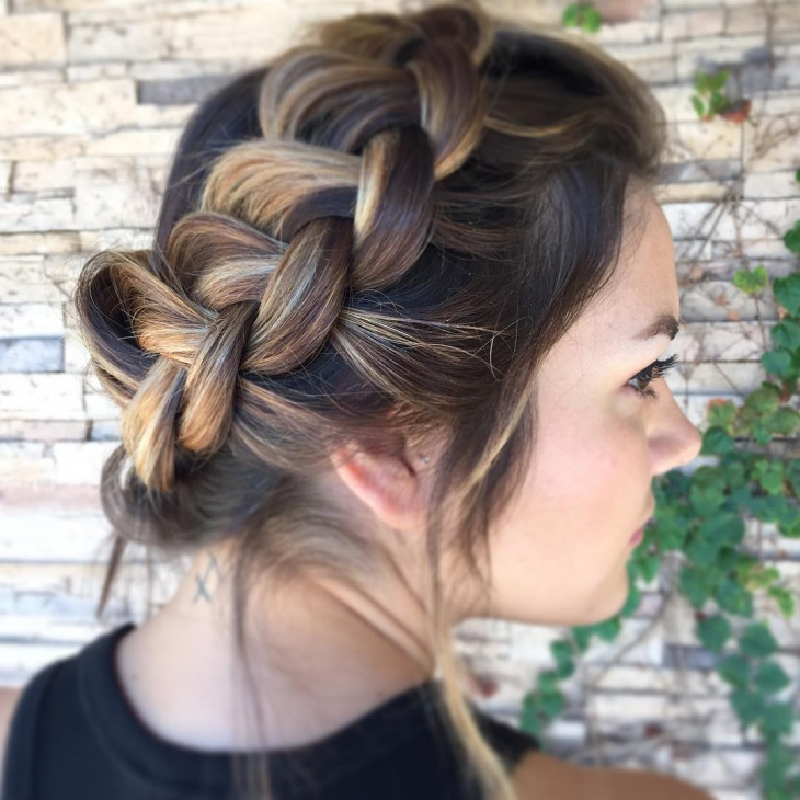 short french braid hair updo