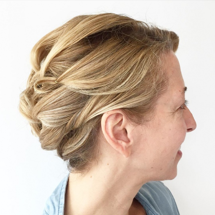 blonde short hair updo