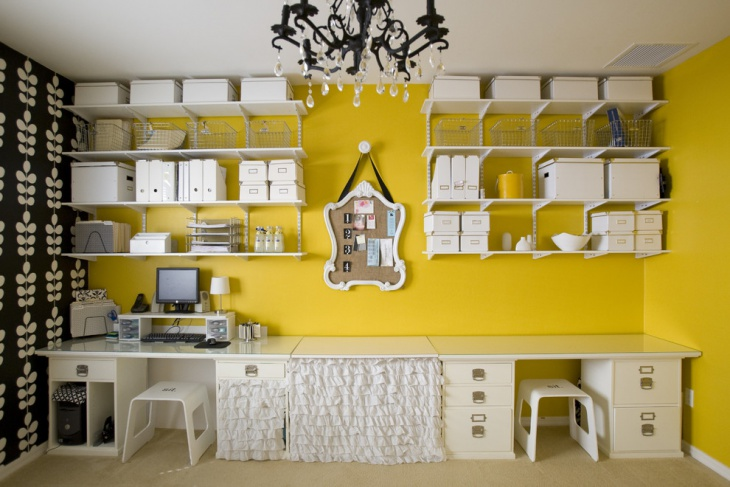 21 yellow home office designs decorating ideas design for Office design yellow