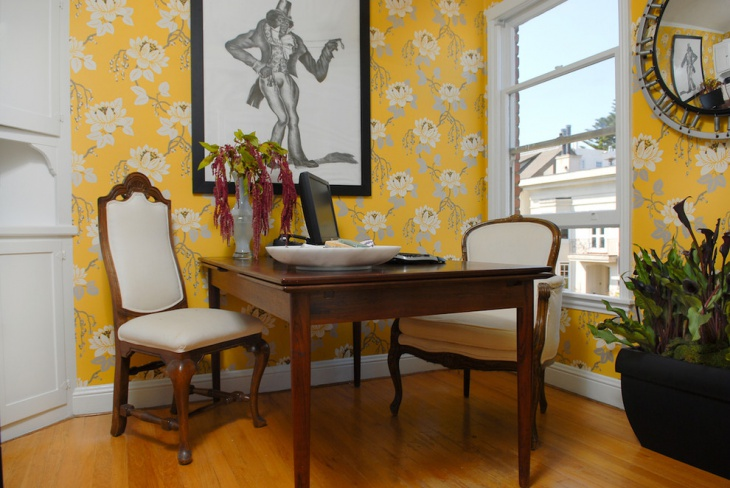 Floral Walls Idea For Home Office