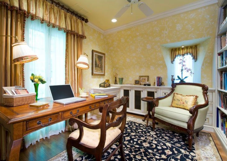 Vintage Style Home Office Decorating Idea