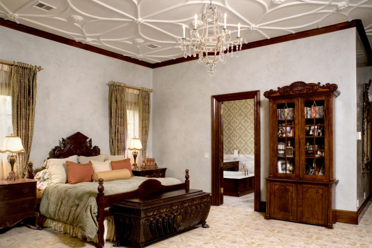 traditional bedroom with chandelier