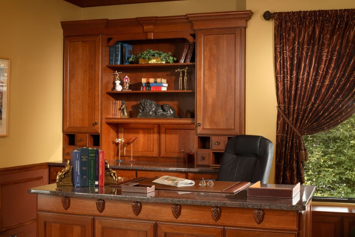 simple home office with wooden storage cases
