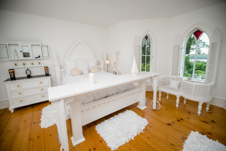 white gothic ecelectic bedroom