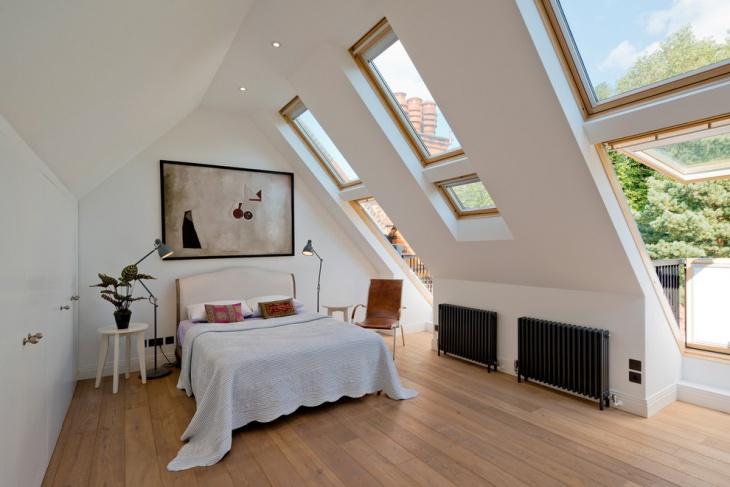 unique bedroom with oiled oak floor