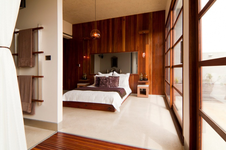 Contemporary Bedroom with Timber Lined Wall
