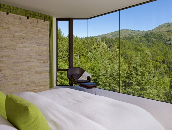 Modern Bedroom with Glass Wall