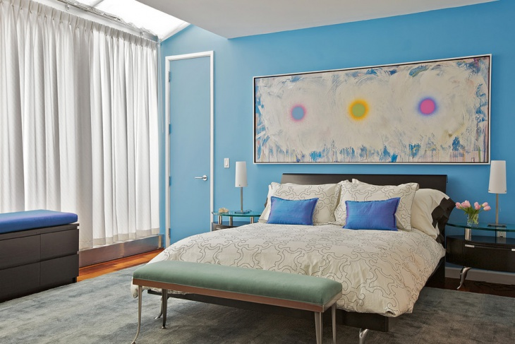 Simple Master Bedroom with Blue Wall