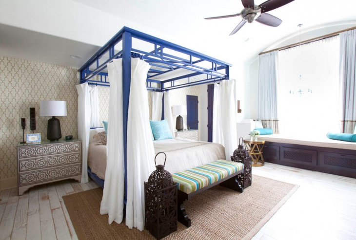 white and blue moroccan bedroom