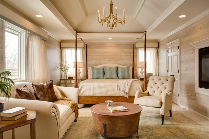 Rustic Bedroom with Chandelier