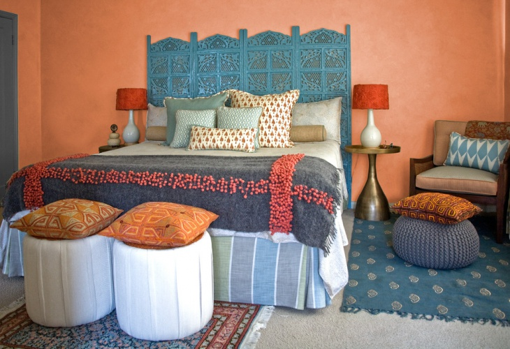 Orange Wall Moroccan Bedroom
