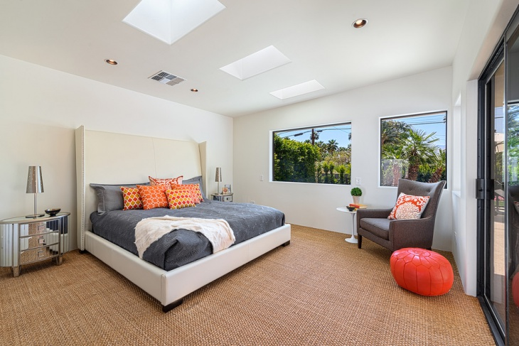 mid century master bedroom with white walls