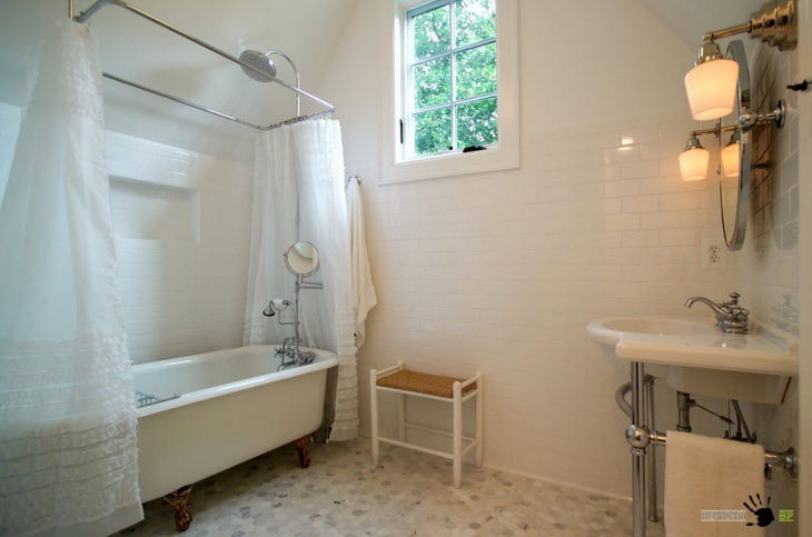 Traditional Bathroom with Mosaic Floor