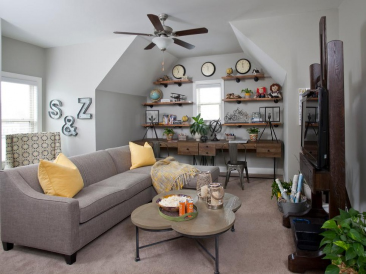 Rustic Family Room With Gray Sofa