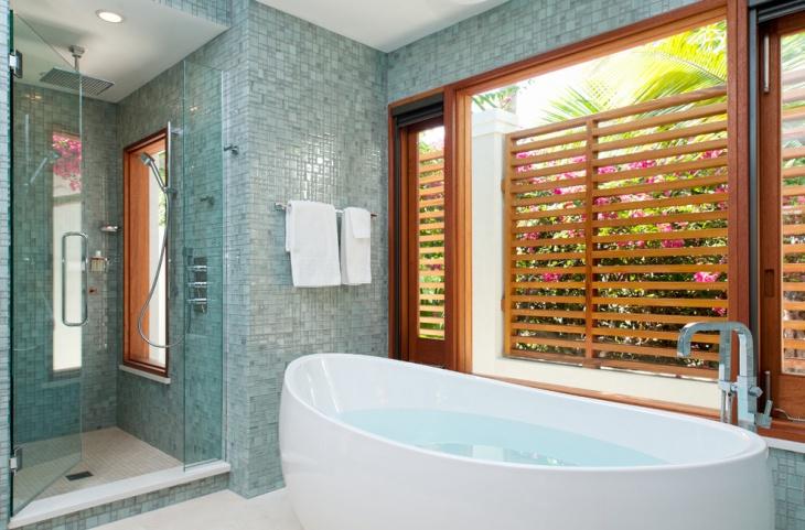 contemporary blue tile bathroom