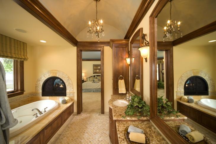 luxurious bathroom with single vanity