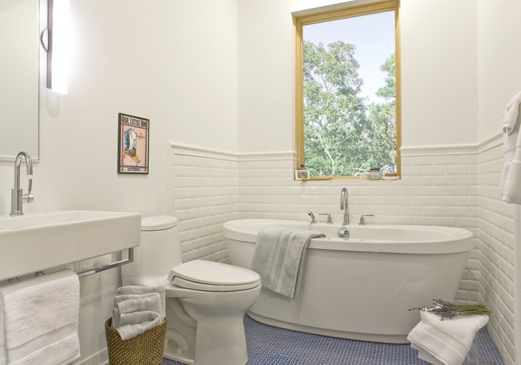 White Bathroom with Blue Mosaic Floor