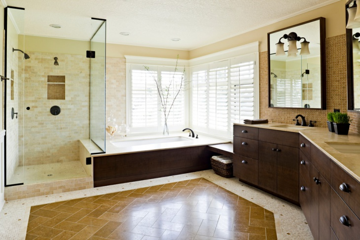 unique bathroom with wooden cabinets