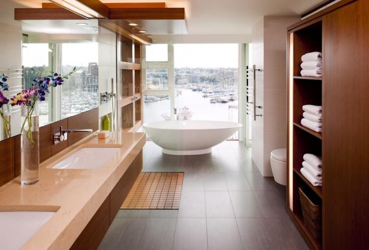 mosaic wooden floor bathroom